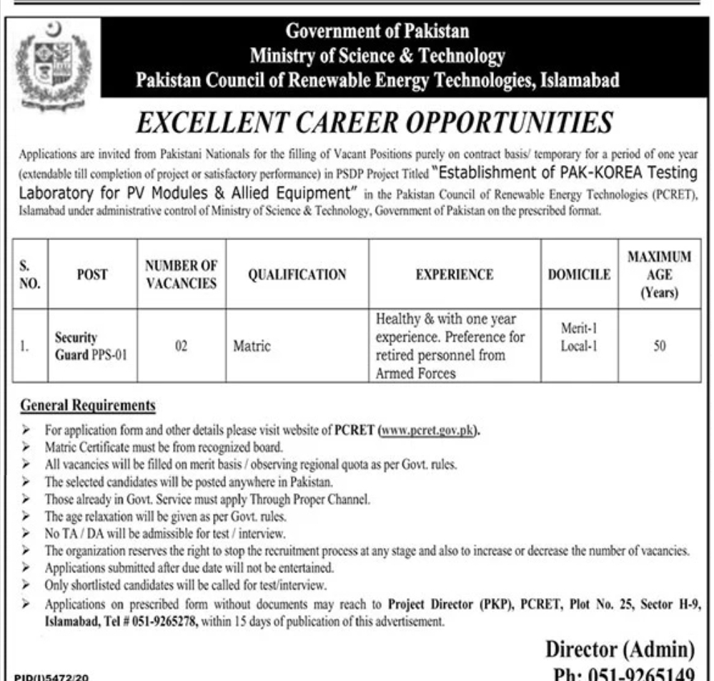 Ministry Of Science & Technology Jobs 2021