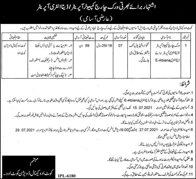 Canal Division Irrigation Department Computer Operator Jobs in Kot Adu 25 06 2021