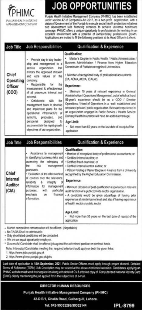Punjab Health Initiative Management Company PHIMC Jobs in Lahore 28 08 2021