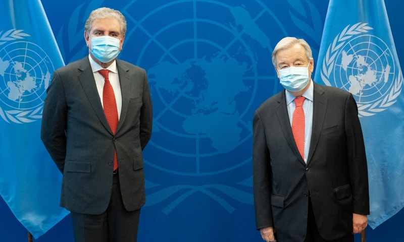 In meeting with UN chief, Qureshi calls for 'urgent action' on humanitarian crisis in Afghanistan